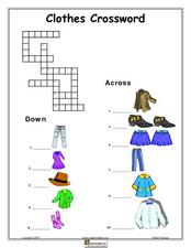 Clothes Crossword Lesson Plan