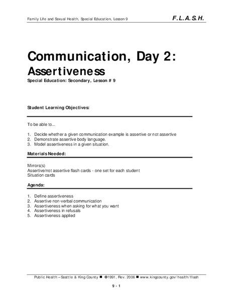 Assertive Body Language Lesson Plans Worksheets