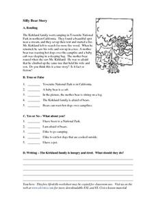 Silly Bear Story Worksheet