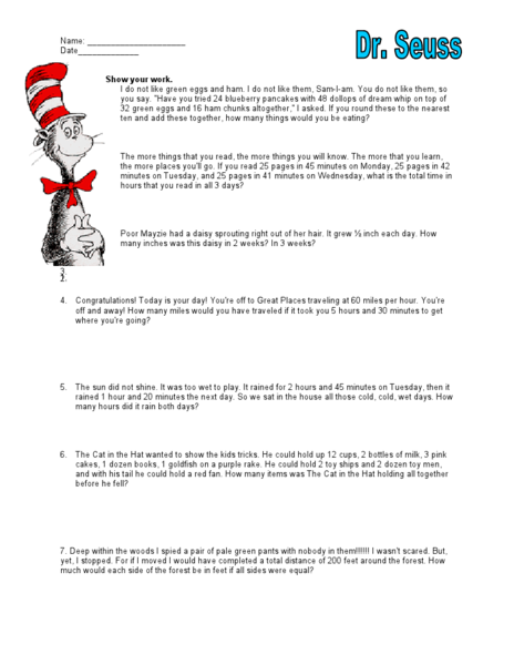Dr. Seuss Mixed Math Word Problems 3rd - 4th Grade Worksheet ...