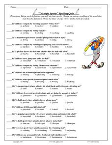 Olympic Sports Spelling Quiz Lesson Plan