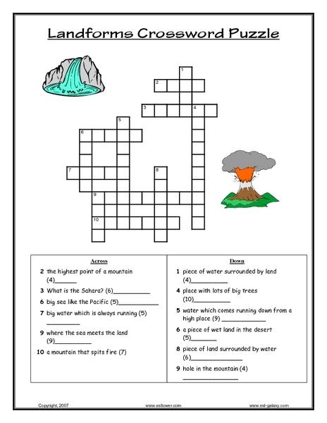 landforms crossword puzzle lesson plan for 7th 9th grade lesson planet. Black Bedroom Furniture Sets. Home Design Ideas
