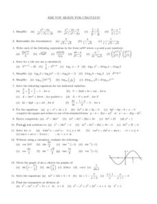 Are You Ready for Calculus? Worksheet