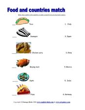 Food and Countries Match Lesson Plan