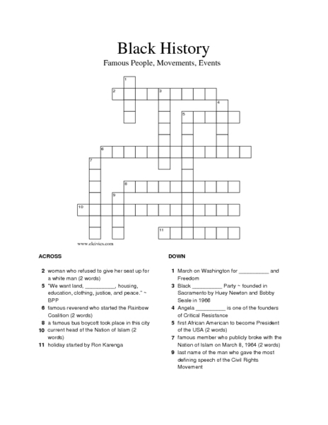 graphic about Black History Crossword Puzzle Printable identified as Black Background: Well known Individuals, Actions, Occasions (Crossword