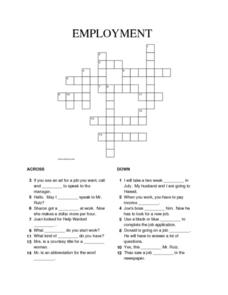 Employment crossword puzzle worksheet for 4th 5th grade employment crossword puzzle worksheet ccuart Choice Image