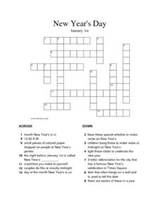 New Year's Day: Crossword Puzzle Worksheet