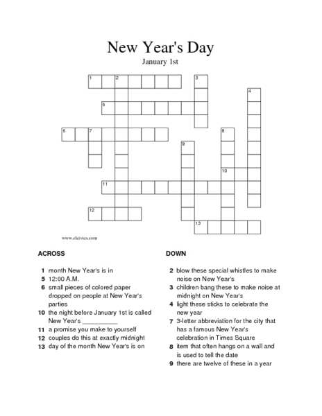 new years day crossword puzzle worksheet