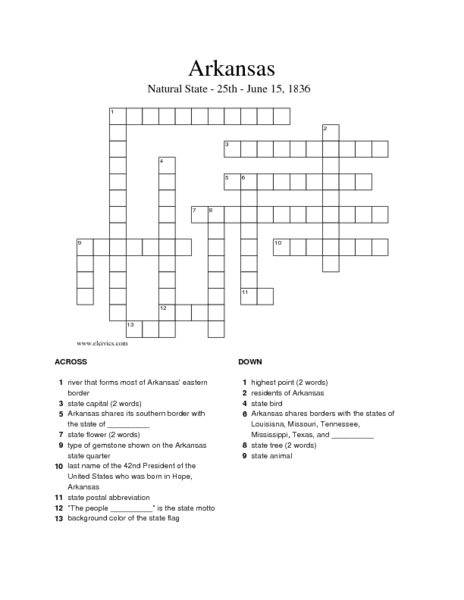 arkansas crossword puzzle worksheet for 5th 8th grade lesson planet. Black Bedroom Furniture Sets. Home Design Ideas