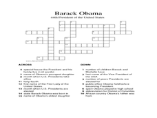 Barack Obama:  Crossword Puzzle Worksheet