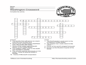 Washington:  Crossword Puzzle Worksheet