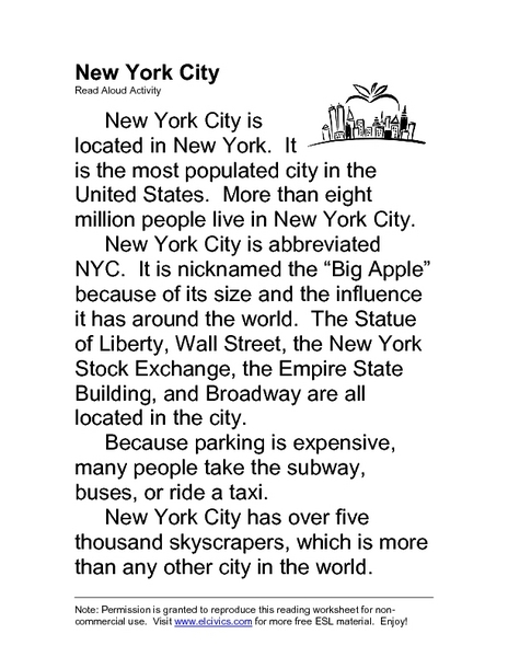 New York City Esl Read Aloud Handouts  Reference For 2Nd -6787
