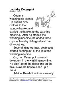 Laundry Detergent: ESL Read Aloud Worksheet