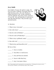 ELL/ESL Reading and Reasoning- Jerry Smith Worksheet