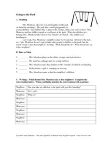 Going to the Playground Worksheet