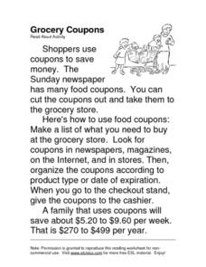 Grocery Coupons Worksheet