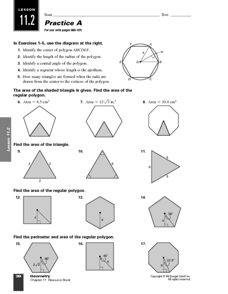 Practice A Area Of Polygons Worksheet For 9th 11th