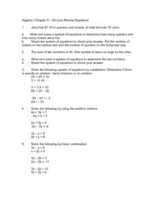 Algebra 1 Chapter 8 - On-Line Review Questions Worksheet