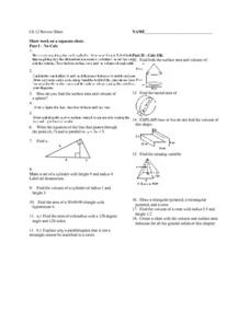 Chapter 12 Review Sheet:  Surface Area & Volume Worksheet