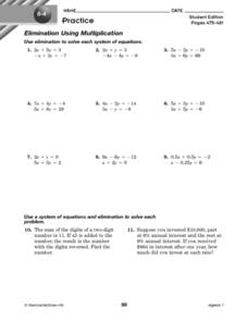 System of Equations-Elimination Using Multiplication Worksheet