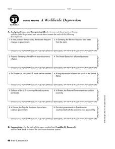 A Worldwide Depression Worksheet