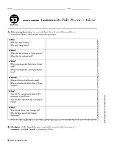 Communists Take Power in China Worksheet
