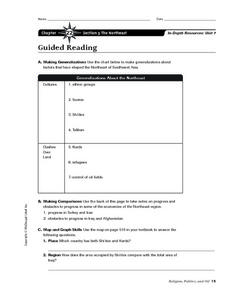 The Northeast of Southwest Asia Worksheet