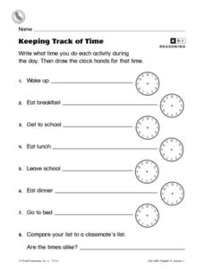 Keeping Track of Time Worksheet
