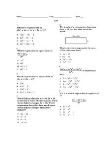 Equivalent Expressions A.11 Worksheet