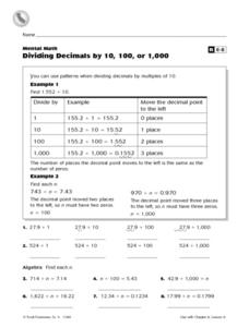 Mental Math: Dividing Decimals by 10, 100 or 1,000 Worksheet