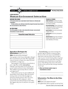 Human-Environment Interaction- Latin America Worksheet