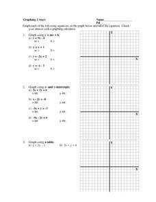 Graphing 3 Ways Worksheet