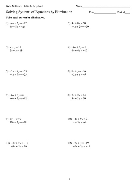 Systems Of Equations Elimination Method Worksheet For 8th