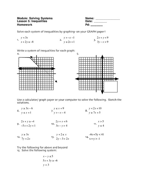 Solving Systems: Inequalities Worksheet for 10th - 12th