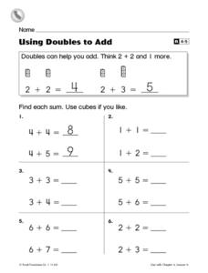 Problem-Solving Strategy: Using Doubles to Add Worksheet