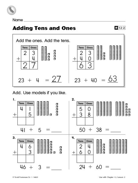 Adding Tens And Ones Worksheet For 2nd Grade Lesson Planet