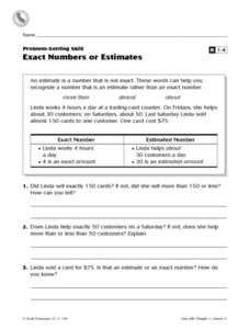 Problem-Solving Skill Exact Numbers or Estimates Worksheet