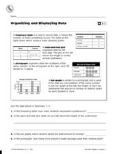Organizing and Displaying Data Worksheet