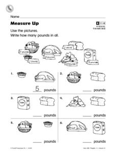 Measure Up- How Many Pounds in All? Worksheet