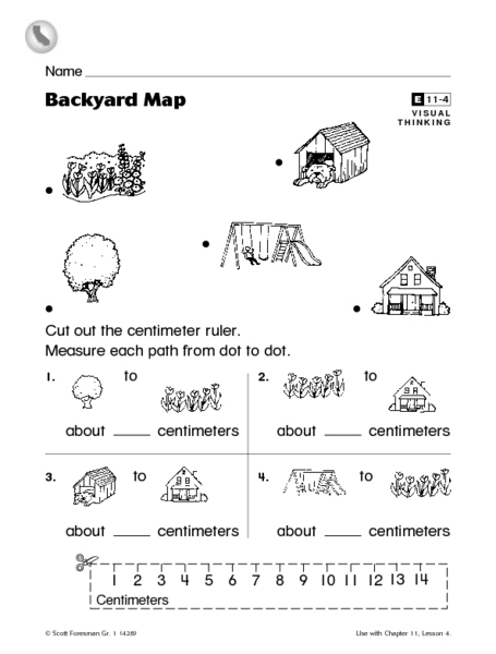 Backyard Map Measuring With Centimeters Worksheet For 1st