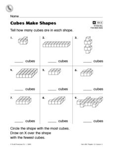 Cubes Make Shapes Worksheet