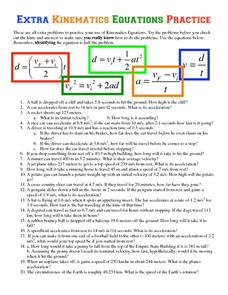 Extra Kinematics Equations Practice Worksheet