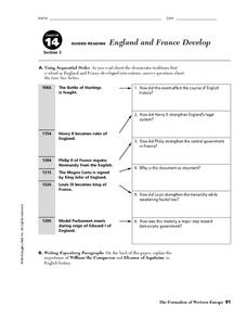 England and France Develop Worksheet