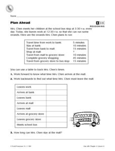 Plan Ahead Worksheet