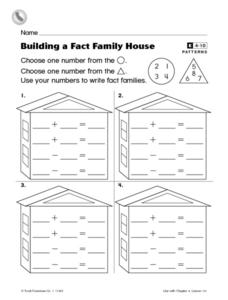 Building a Fact Family House Worksheet