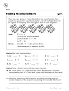 Finding Missing Numbers Worksheet
