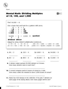 Mental Math: Dividing Multiples of 10, 100, and 1,000 Worksheet