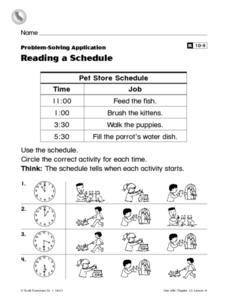 Reading a Schedule Worksheet