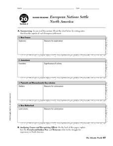 European Nations Settle North America: Guided Reading Worksheet