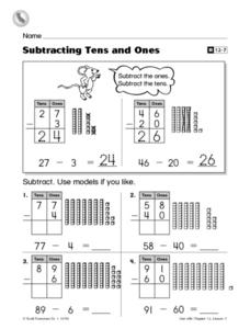 Subtracting Tens and Ones Worksheet